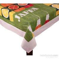 Yastıkminder Koton Yeşil Portakal Desenli Dikdörtgen Masa Örtü