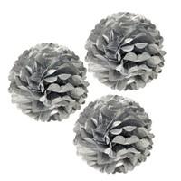 Pandoli 3 Lü Gümüş Renk Pelur Kağıt Ponpon Çiçek Asma Süs 25 Cm
