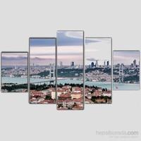 İstanbul Boğazı - 5 Parçalı Kanvas Tablo - 133X75 Cm