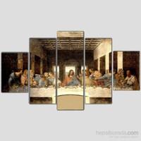 Last Supper - Son Yemek - 5 Parçalı Kanvas Tablo - 133X75 Cm