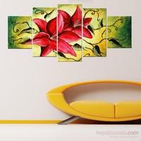 Pembe Çiçekler - 5 Parçalı Kanvas Tablo