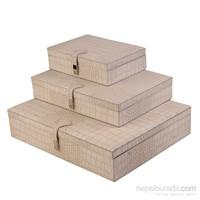 Dearybox Dört Bölmeli Ve Tek Bölmeli Deri Kaplamalı 3'Li Kutu