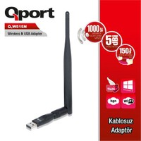 Qport 150 Mbps 11N Harici Mini Usb 5 dbi Tek Anten Wireless Adaptör (Q-W515N)