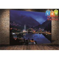 Tablo İstanbul Trabzon Uzungöl Led Işıklı Kanvas Tablo 45 X 65 Cm