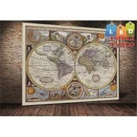 Tablo İstanbul Dünya Haritası Led Işıklı Kanvas Tablo 45 X 65 Cm