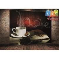Tablo İstanbul Coffe Love Led Işıklı Kanvas Tablo 45 X 65 Cm