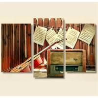 Tictac 3 Parça Kanvas Tablo - Müzik