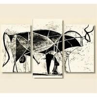 Tictac 3 Parça Kanvas Tablo - Picasso Boğa