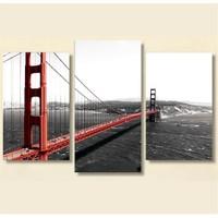 Tictac 3 Parça Kanvas Tablo - Golden Gate