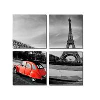 Tictac 4 Parça Kanvas Tablo - Kırmızı Araba Ve Eyfel