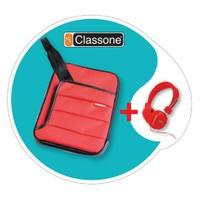 """Classone TBL-U102 Colorful 7-10.1 """" Kırmızı Tablet Çantası + Mila Kulaklık Hediye"""