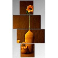 Tictac 4 Parça Kanvas Tablo - Vazodaki Çiçek