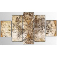 Tictac Antik Harita - 5 Parçalı Kanvas Tablo - Büyük Boy