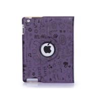 Romeca New iPad/iPad 2 360 Derece Dönebilen Figürlü Mor Kılıf