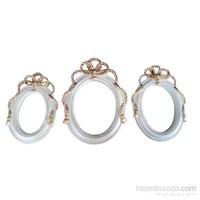 Gold Dekor Halat Ayna Sedef Renk Taşlı