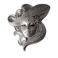 Gold Dekor Şapkalı Maske Gümüş Renk