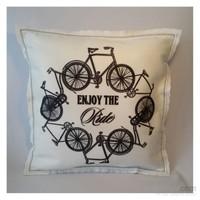 Desenli Keçeler Bisiklet Desenli Kare Keçe Yastık
