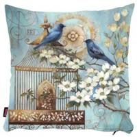 Bengü Accessories Kuş Desenli Dekoratif Yastık 40X40 Cm