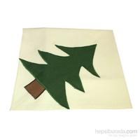 Yastıkminder Koton Beyaz Kumaş Yeşil Büyük Ağaç Kare Masa Örtü