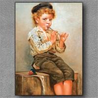Tablom Flüt Çalan Çocuk Kanvas Tablo
