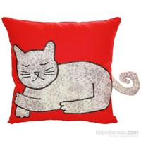 Yastıkminder Koton Kırmızı Lopar Kedi Formunda Dekoratif Yastık