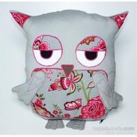 Yastıkminder Koton Gri Çiçekli Göbekli Baykuş Yastık