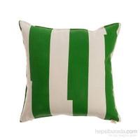 Yastıkminder Koton Yeşil Beyaz Çizgili Dekoratif Yastık