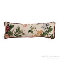 Yastıkminder Koton Beyaz Bordo Çiçekli Dekoratif Yastık