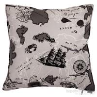 Yastıkminder Koton Gri Harita Desen Dekoratif Yastık