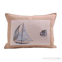 Yastıkminder Koton Bej Beyaz Yelken Desen Dekoratif Yastık