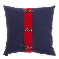 Yastıkminder Koton Lacivert Kırmızı Halatlı Dekoratif Yastık