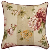 Yastıkminder Koton Haki Yeşil Çiçek Desen Dekoratif Yastık