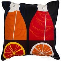 Yastıkminder Koton Lacivert Oranj Dekoratif Yastık