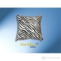 Zebra Desenli Deri Yastık