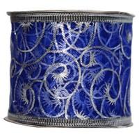 Pandoli Mavi Renk Gümüş Desenli Organze Kurdele