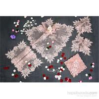 Evlen Home Collection Firuze Kordonlu Boncuklu Salon Takımı - 16 Parça Pudra