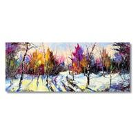 Tictac Renkli Ağaçlar Kanvas Tablo - 40X120 Cm