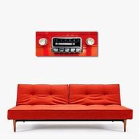 Tictac Kırmızı Radyo Kanvas Tablo - 40X120 Cm