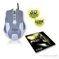 Inca IMG-313GB 4000DPI 8D 128K Laser Oyuncu Mouse + Oyuncu MousePad Hediyeli