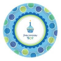 Parti Paketi 1 Yaş Partisi Mavi Cupcake Küçük Tabak 8'Li