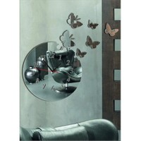 Yuvarlak Kelebekli Ayna Saat