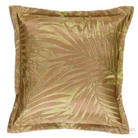 Yastıkminder Tafta Kahve Yeşil Palmiye Desen Dekoratif Yastık