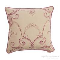 Yastıkminder Koton Kemik Pembe Fitilli Barok Desen Dekoratif Yastık