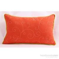 Yastıkminder Koton Oranj Nakışlı Dikdörtgen Fıstık Fitilli Dekoratif Yastık