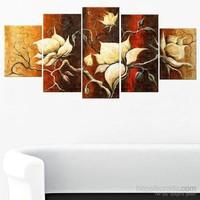 Beyaz Çiçekler - 5 Parçalı Kanvas Tablo