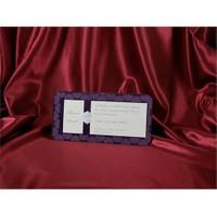 Mor Kadife Düğün Davetiye 100 Adet Zarflı