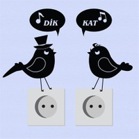 Modelce Dikkatli Kuşlar Priz Sticker