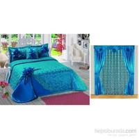 Altın Kelebek Lüx Çeyizlik Perdeli Yatak Örtüsü - Feride-P.Mavi