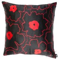 Yastıkminder Tafta Siyah Kırmızı Yonca Dekoratif Yastık