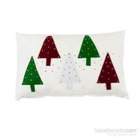Yastıkminder Polyester Beyaz 5 Ağaç Aplıke Dekoratif Yastık